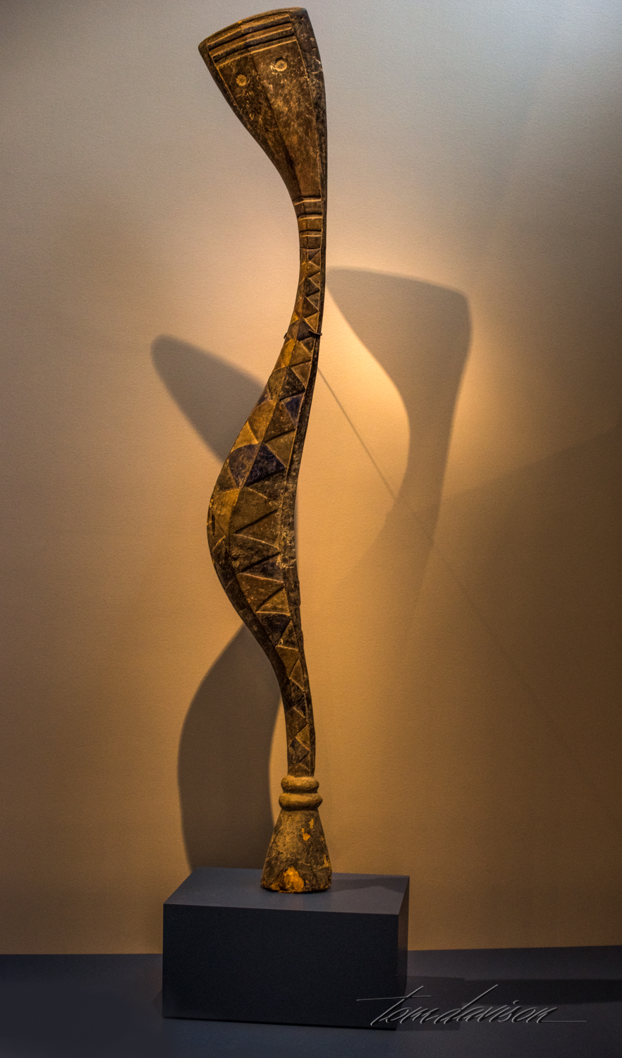 "Serpent Figure, Bansonyi,   Guinea, Baga culture, Wood with pigment, late 1800s to early 1900s. ""Slithering vertically, this serpent rises to depend itself.  Known as a-Mantsho-ña- Tshol, or 'master of medicine', it was summoned to bestow rainfall, fertility, good fortune, and well-being on the community.  It o feat of extraordinary balance, it was carried by dancers on their heads, strapped into cloth-covered basketry support."""