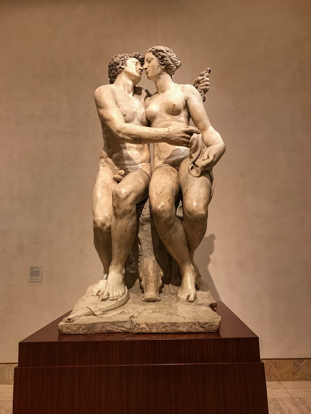 "Atalanta and Meleager with the Calydonian Boar , 1864-1865, Francesco Mosca, called Il Moschino (1525-1578), Carrara marble.  ""The ancient Roman poet Ovid provided the subject matter for this sculpture.  Here, Meleager, prince of Calydon, is moments away from embracing Atalanta, the virgin huntress with whom he has fallen in love.  The two have just killed a wild boar that had been unleashed upon the countryside by Diana, goddess of the hunt, for lack of attention paid to her by the kingdom of Calydon.  The head of their trophy, the boar, lies between the two lover's feed.  The smooth sensuality of the surface of this sculpture is typical of the refined tase of Mosca's Florentine patrons at the time."""
