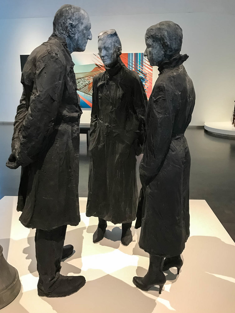 "Chance Meeting,  1989 by George Segal (1924-2000, Plaster, aluminum and galvanized steel.  "" Chance Meeting "" represents one of George Segal's favorite motifs: people on city streets. . . This pose, along with the title, implies that they are friends or acquaintances who have unexpectedly met on the street.  Segal often used family and friends as models.  In  Chance Meeting,  the woman wearing the high heels is the artist's daughter, Rena Segal.  This plaster sculpture, part Pop Art and part Realism, contains details captured by the casting process, including folds in the clothing and even top stitching on seams."""