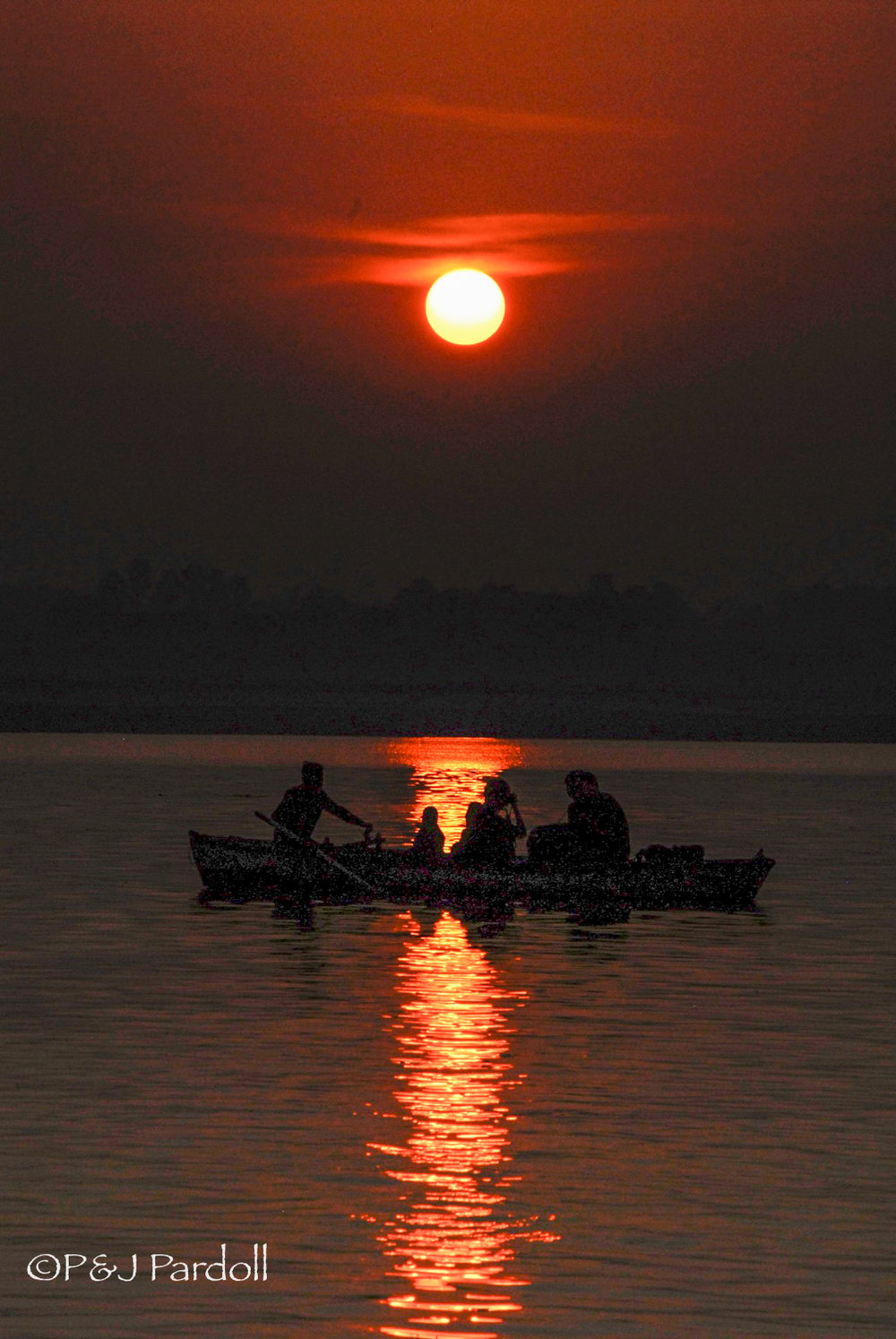 Sunset on Ganges River in Varanasi, India