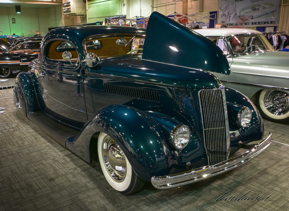 Customized 1936 Ford coupe.