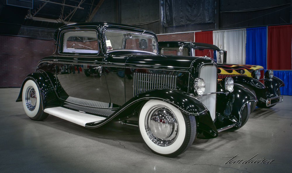 1932 Ford coupe designed in a late 1960s style.