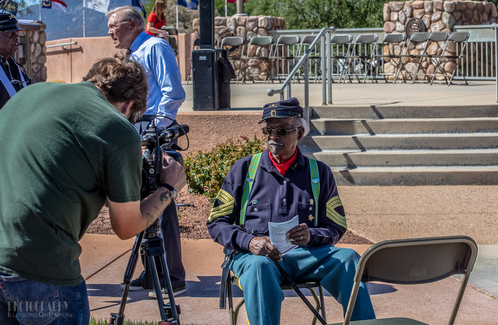Re-enactment of Buffalo Soldiers interview for TV