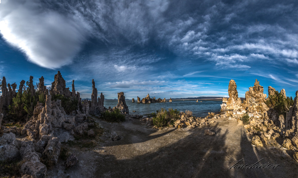 Mono Lake is known for having 'Tufas'.  These calcite formations are formed below the water's surface around underground fresh water springs. When the lake's water level fell (result of removing water to be sent to Los Angeles, the tufas were exposed.