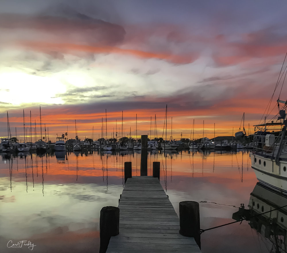 There were not nearly enough sunsets to suit us. But this one, with the marina as a foreground, was a keeper.