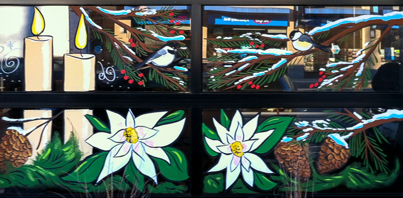 Window Painting for Little Mountain Coffee, Vancouver