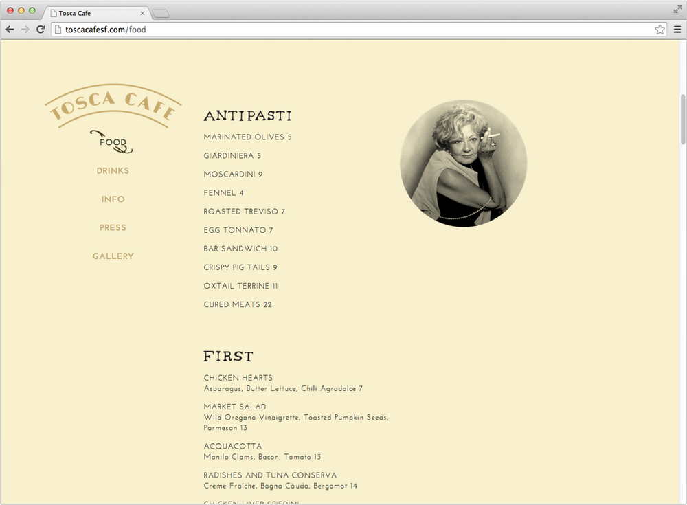 Tosca web menu