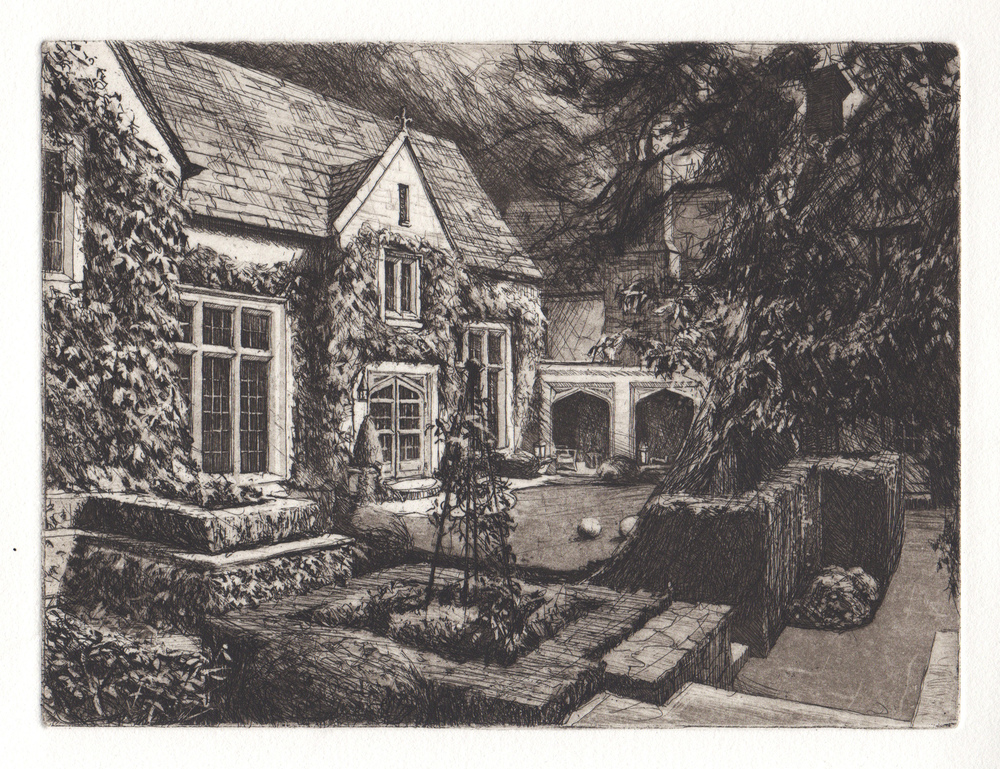 Line and aquatint etching of Dallas residence