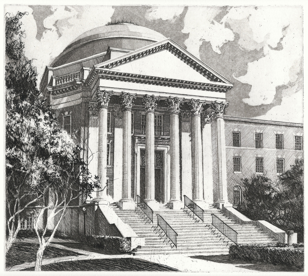 Line etching of Dallas Hall, Southern Methodist University, for Second Century Campaign
