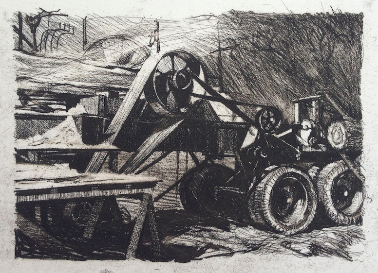 Etching commissioned for a family sawmill business