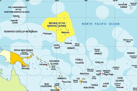 Republic of the Marshall Islands The Republic of the Marshall Islands is an island country located near the equator in the Pacific Ocean.  The country's population of 53,158 people is spread out over 29 coral atolls, comprising 1,156 individual islands and islets.