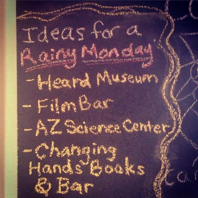 Where do you like to spend a #rainyday? We recommend @heardmuseum, #filmbarphoenix, @azscience and @firstdraftbookbar! #phoenix #dtphx #myphx