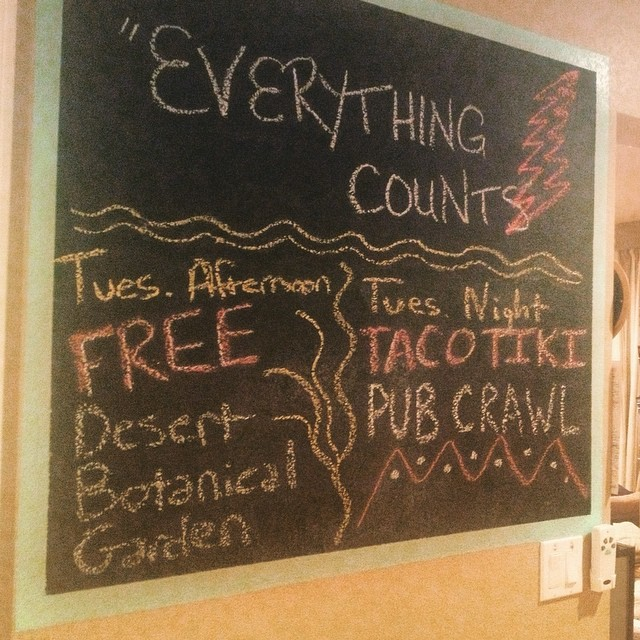 Today: enjoying FREE admission to @desertbotanical, then pub crawl to @thirdspacephx for $1 street tacos / ladies' drink specials + @thebikinlounge after for #DJentrification dance party. This is how we do Tuesday in #Phoenix, folks. #camelbackpackers #hostel #hostellife #pubcrawl #streettacos #tacotuesday #danceparty #dtphx #myphx #dtphxlove #visitphoenix