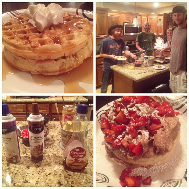 Sometimes you just want a late night waffle bar... with CHOCOLATE WHIPPED CREAM. #camelbackpackers #phoenix #hostel #hostellife #waffles #belgianwaffle #wafflebar