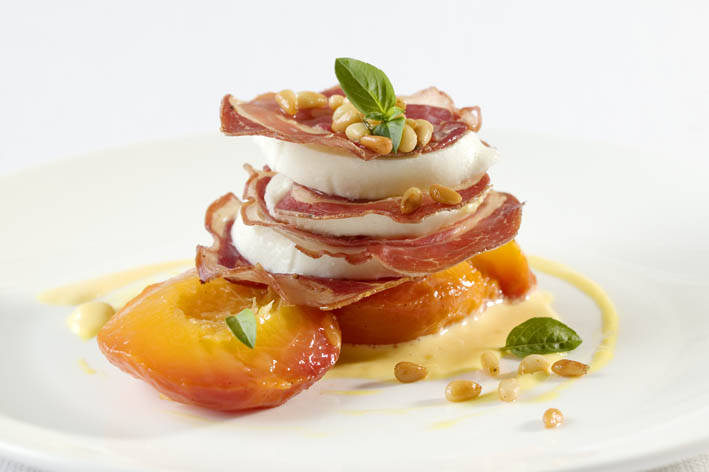 Crispy pancetta, bocconcini and grilled peach on mango pinenut aioli