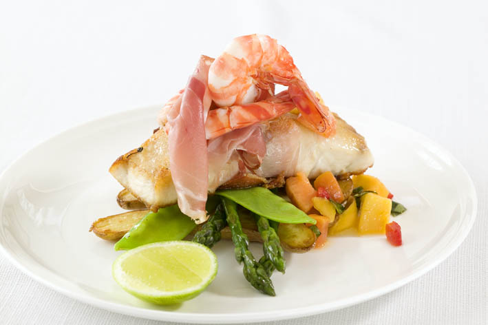 Pan-seared Barramundi with Prosciutto Borgo, Mango & Prawn Salsa