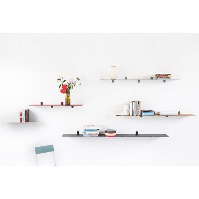 Shelf n* 1/2/3/4 by #mullervanseveren ! •  They consist solely of one #steel #plate. The #brackets are #lasercut flaps on the edge of the plate itself.  Shelf is #available in #five refined #colors and varying #lengths between 75cm and two meters. •  For more information visite the #webshop  www.the-game-online.com •  #thegameonline #thegamedesignstore #brussels #belgianbrand #belgiandesign #valerieobjects #antwerp #shelfs #lightgrey #antracite #cream #white #mustard #brickred #designobject #shoponline