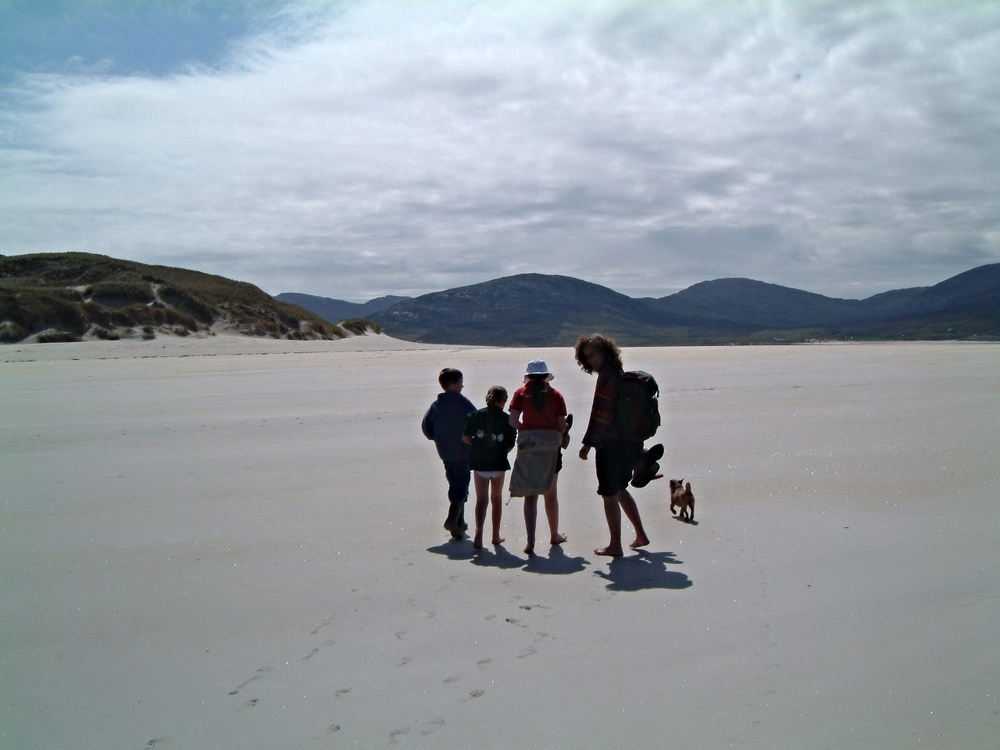 A Honeywell family walk on one of Harris's amazing beaches