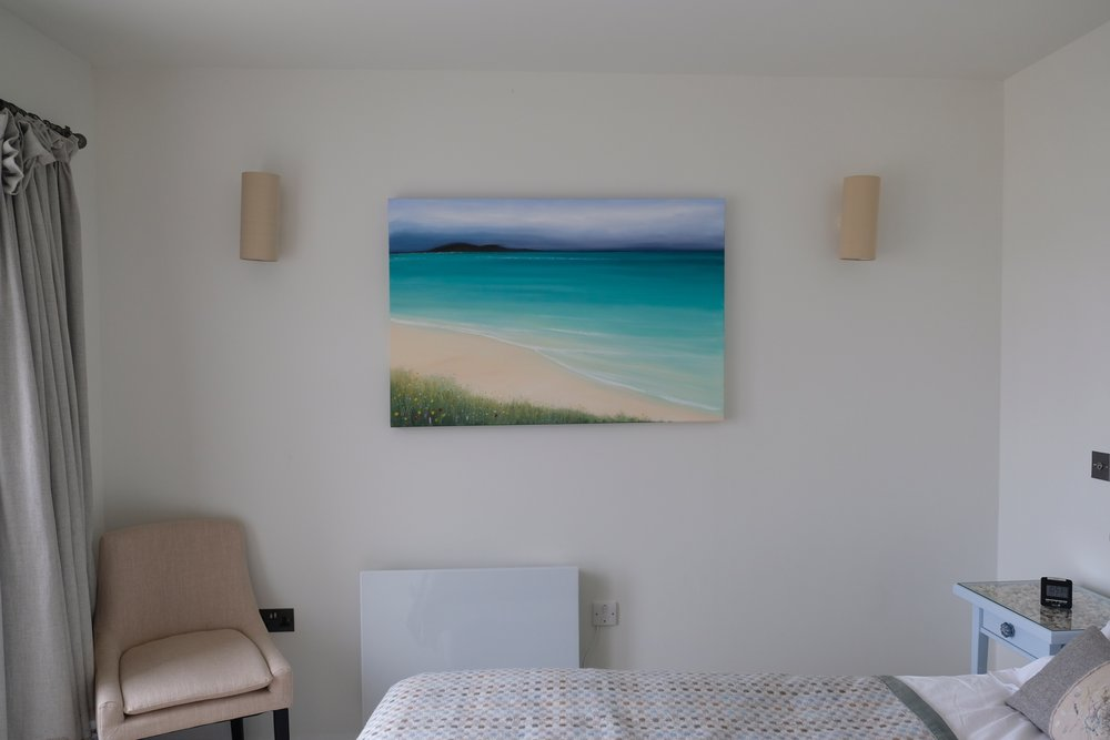 Shoreline features Andrew Craig's beautiful original oil painting of the beach at Scarista