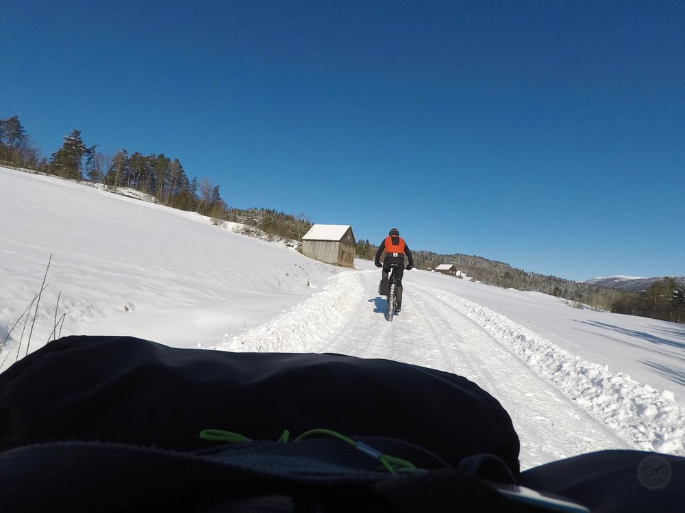Following Bart on the gravel roads around Voss