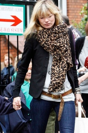 Kate in big, patterned scarf