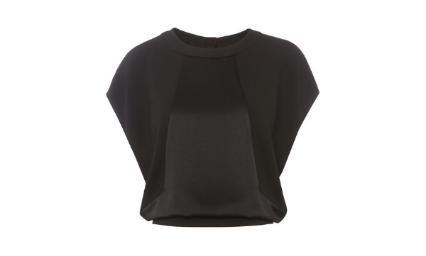 """Whistles say """" Opt for a fun yet elegant party look, with this exposed back top. Fastened with a contrast 'd' ring belted detail, and featuring a front contrast panel. This raglan sleeve style is ideal paired with a slim cigarette trouser and flat point."""""""