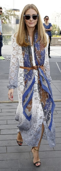 Olivia Palermo wears long scarf, and leather belt