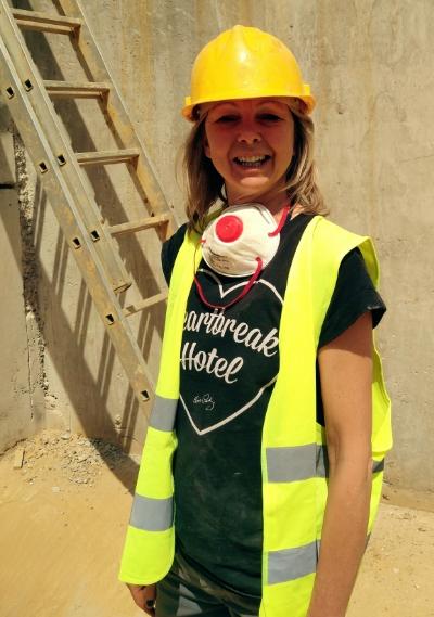 Katie in statement Tee, Hi-Viz waistcoat, and protective hat :-)