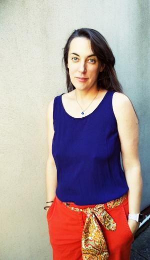 Amanda in her silk top