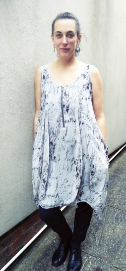 "Amanda models the ""Corinne Print Cocoon Dress from Mint Velvet, £55 (was £79)"