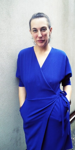Amanda wears the Batwing Wrap Dress, £46 from Top Shop and available in many colours
