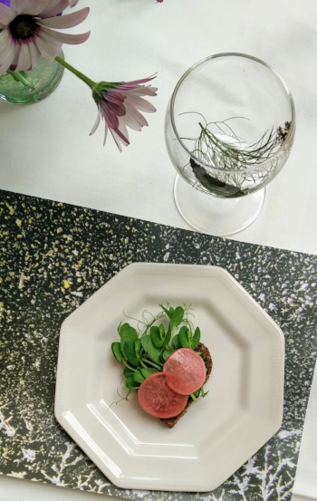 Heart-shaped rye bread topped with wild garlic pesto, pea sprouts and fermented radish. Placemat is a photograph of the crystals of non-organic lettuce.
