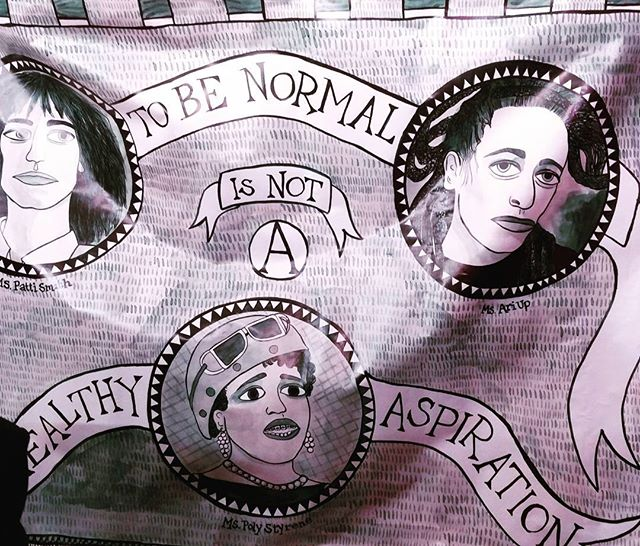 Great banner by artist Rachael House at the feminist disco this evening...' To be normal is not a healthy aspiration'...hear, hear! 👂🎧💃 #freetobe #feministdisco #feministdiscourse #beyourself  #normalisoverrated