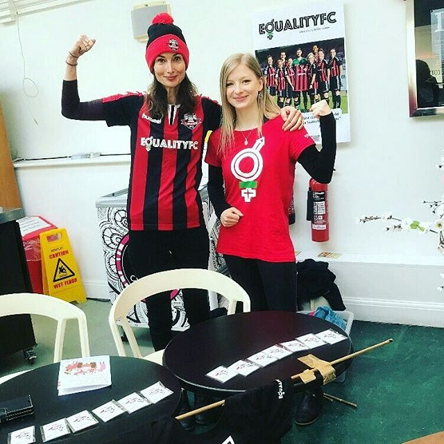 We had a blast at the International Womens' Day celebrations in Brighton yesterday representing Lewes Football Club. People were both delighted and flabbergasted when we told them that the Club is the FIRST in the world to pay its womens' team the same as it's mens'. Thanks to @brightonwomenscentre & @brighton_dome for a fab event packed with interesting and engaged people, keen to show solidarity with the cause for #equality by coming to our womens' home fixtures. A few more converts to the beautiful game in the bag 😁🙏👍🙌💕 Next home matches April 8th, 15th, 29th 😘😘 #womensfootball #oneclub #alevelplayingfield #votesforwomen #equalityfc #unlockthegate #lewesfc #coyr