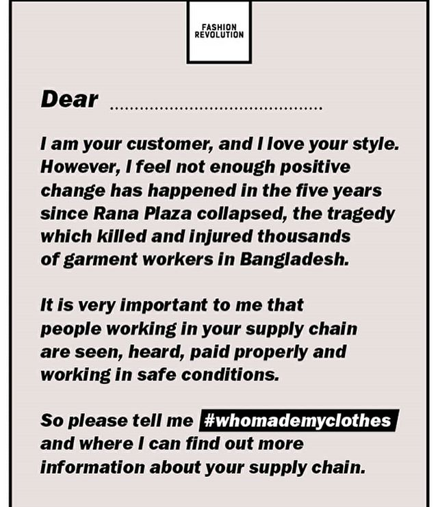 A handy template for Fashion Revolution week from @fash_rev  Hold brands to account by asking #whomademyclothes and #reallylovefashion 💕👚👗🙏👏 #fashionrevolution #rememberranaplaza #loveyourclothes #knowyourmakers #relationshipbuildsvalue
