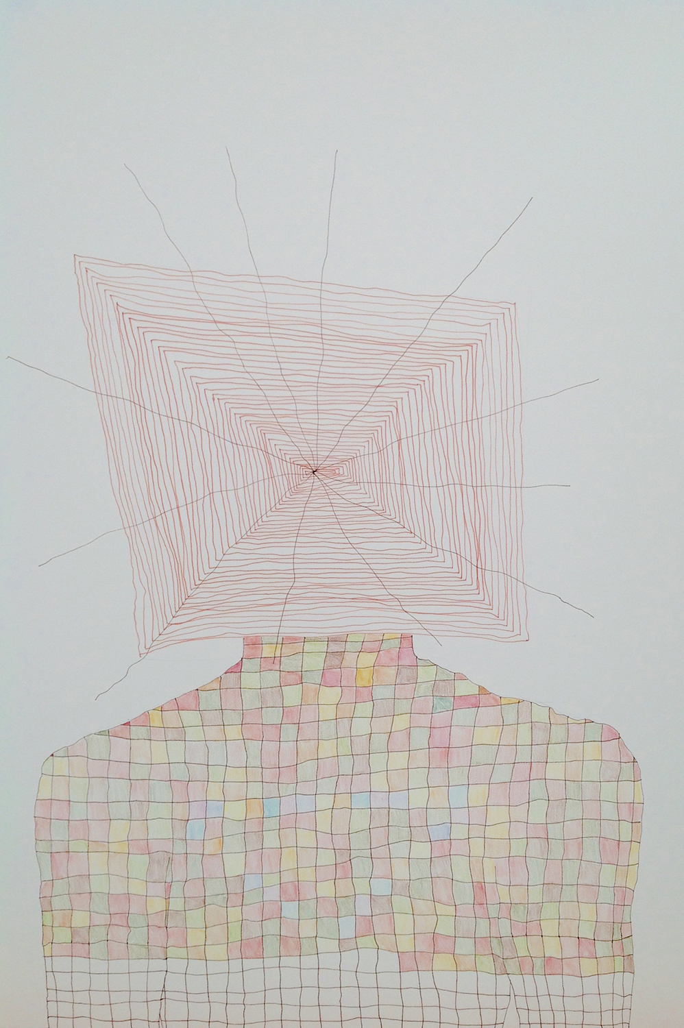 "2014, 20""x18"", ink, colored pencil on paper"