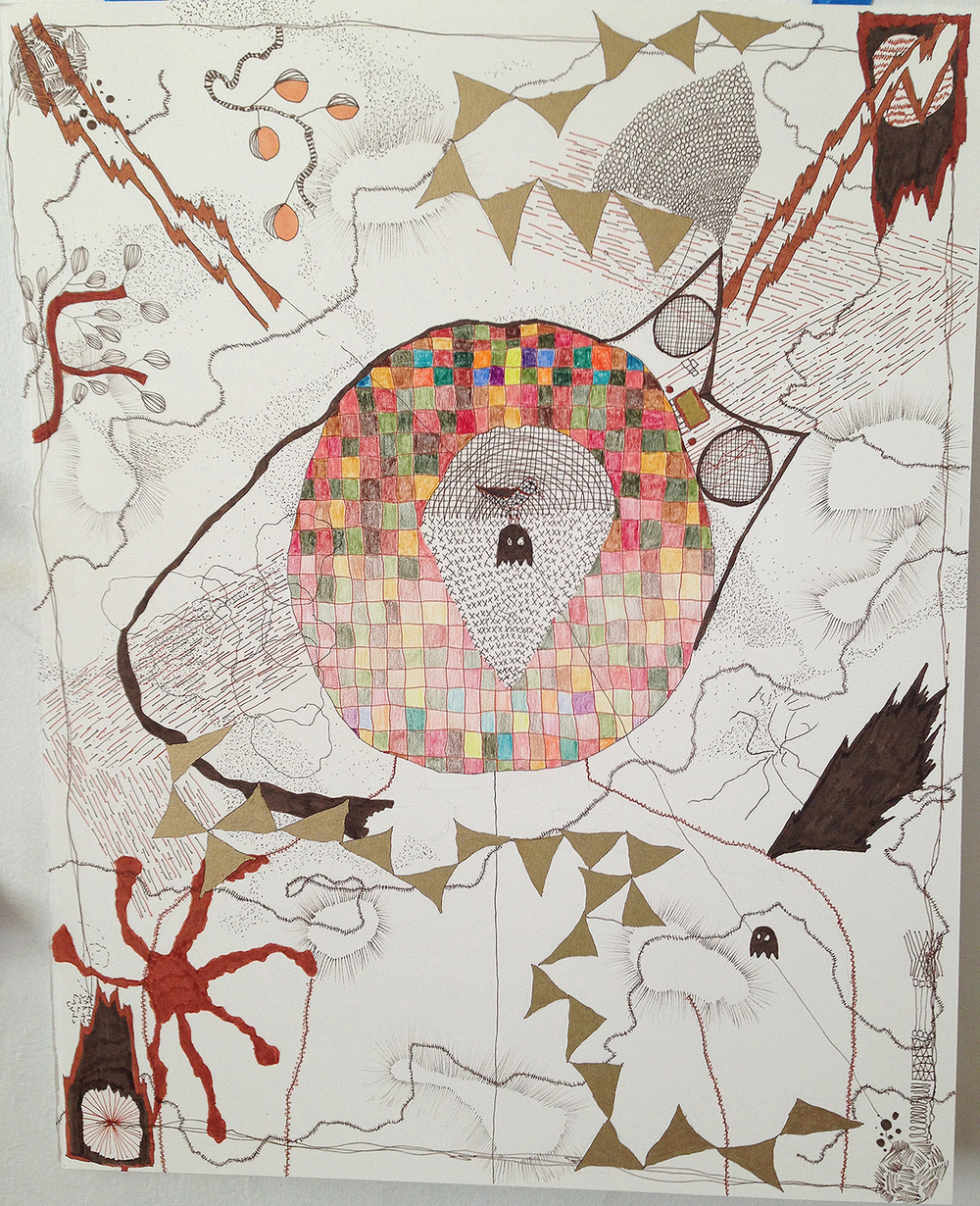 "2014, 20""x18"", ink, oil marker, colored pencil on paper"