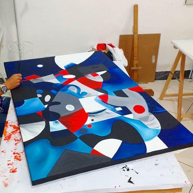 Tela em execução da Catarina. Óleo sobre tela. #artstudio #ateliervss #pintura #painting #oilpainting #arte #art #artclass #aulasdearte #abstracto #abstract #arteparajovens #areeiro #lisboa #lisbon #portugal
