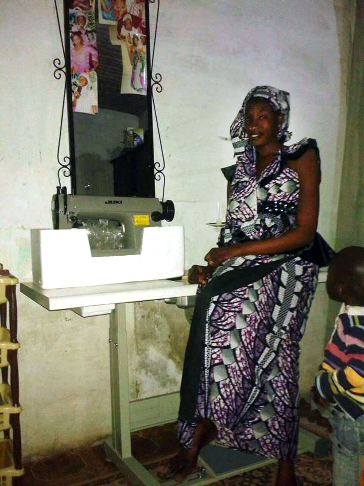 Karim with her new sewing machine.