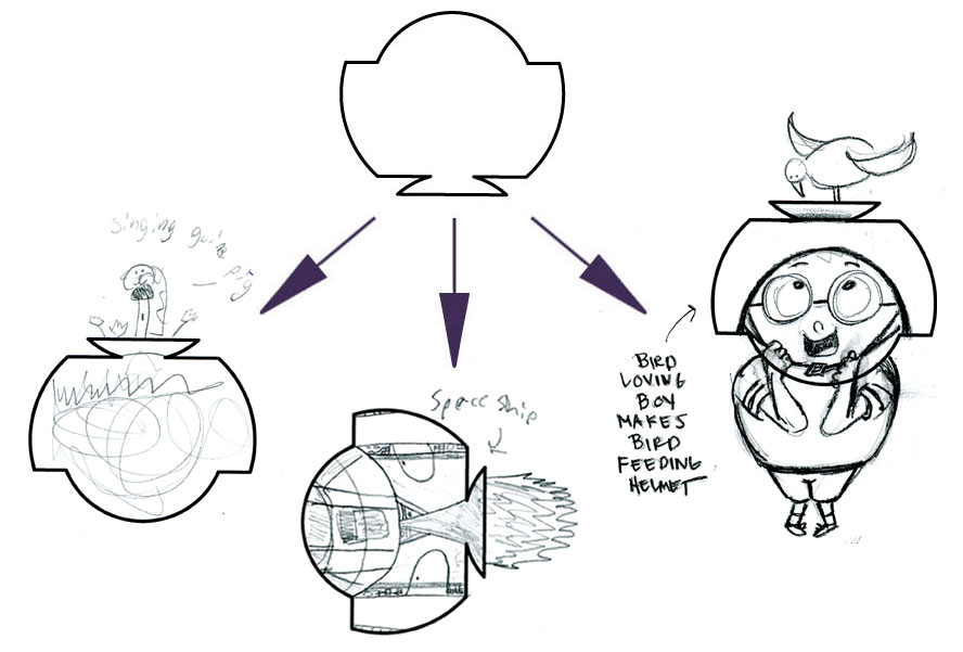 LEFT (SINGING GUINEA PIG), CENTER (SPACESHIP), AMY's ON RIGHT (BIRD LOVING BOY MAKES BIRD FEEDING HELMET)