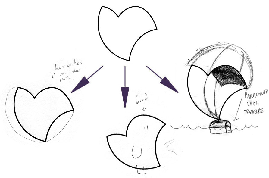 LEFT (HEART BROKEN IN TO THREE PIECES), CENTER (BIRD), AMY's ON RIGHT (PARACHUTE WITH TREASURE)