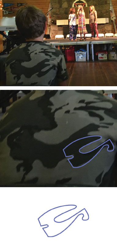 Looking back at pictures I noticed this camo shirt was in front of me during a talent show. I picked one particular shape and edited!