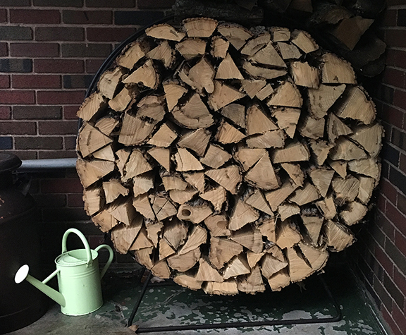 We love cozy fires! This is the wood pile in our backyard.