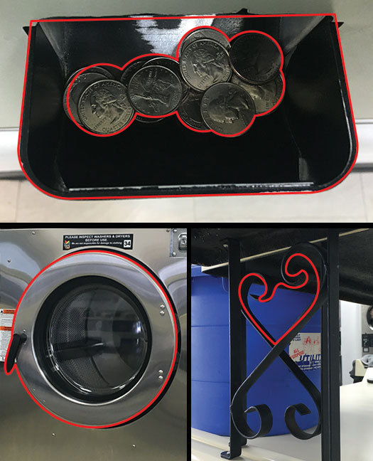 COIN TRAY with all of my quarters (I needed about $7 in change), a DRYER and a decorative SHELF STAND that was directly behind me.