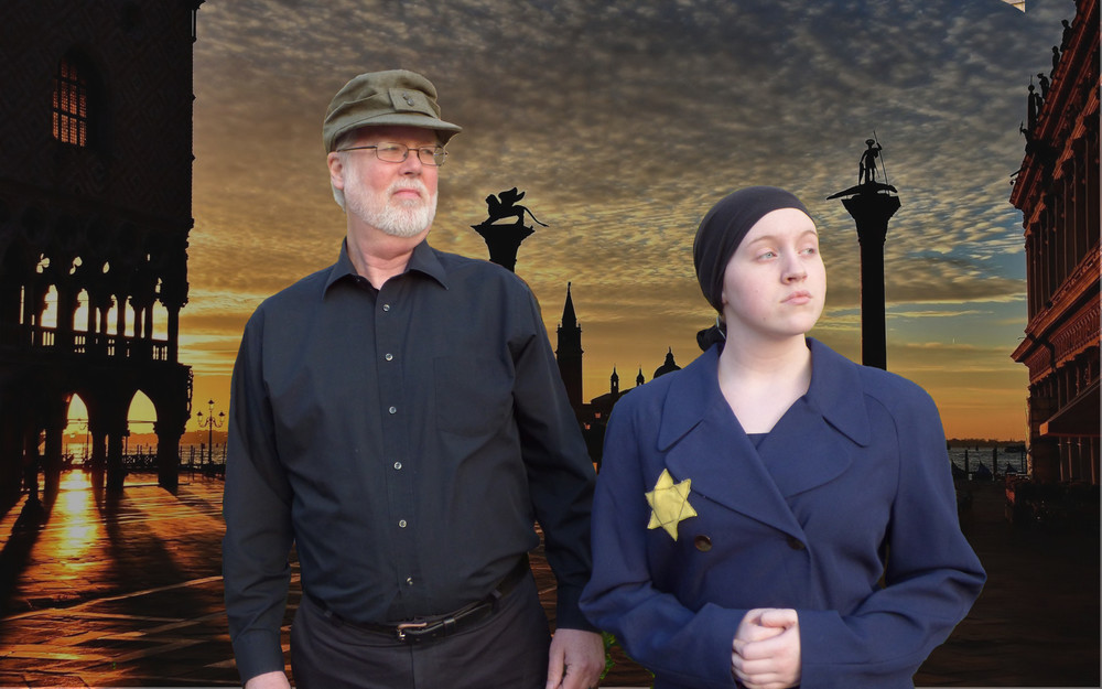 Terry Hermes and Abbe Coulter as Antonio and Shylock