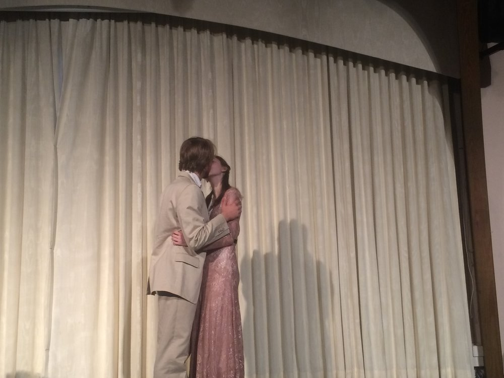 Bassanio and Portia kiss.JPG