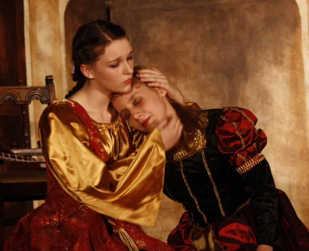 Morgan and Katherine, ages 16 and 11, play Rosalind and Celia in As You Like It.