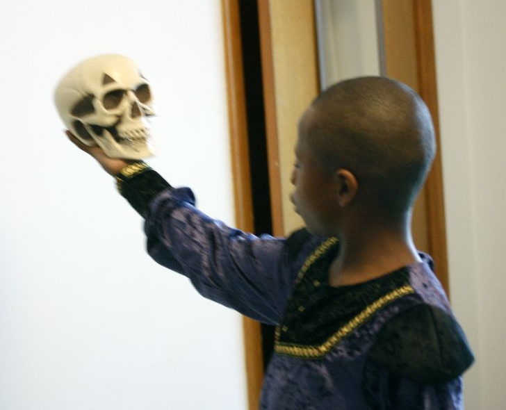 Dorian, age 10, performs a scene from Shakespeare's Hamlet.
