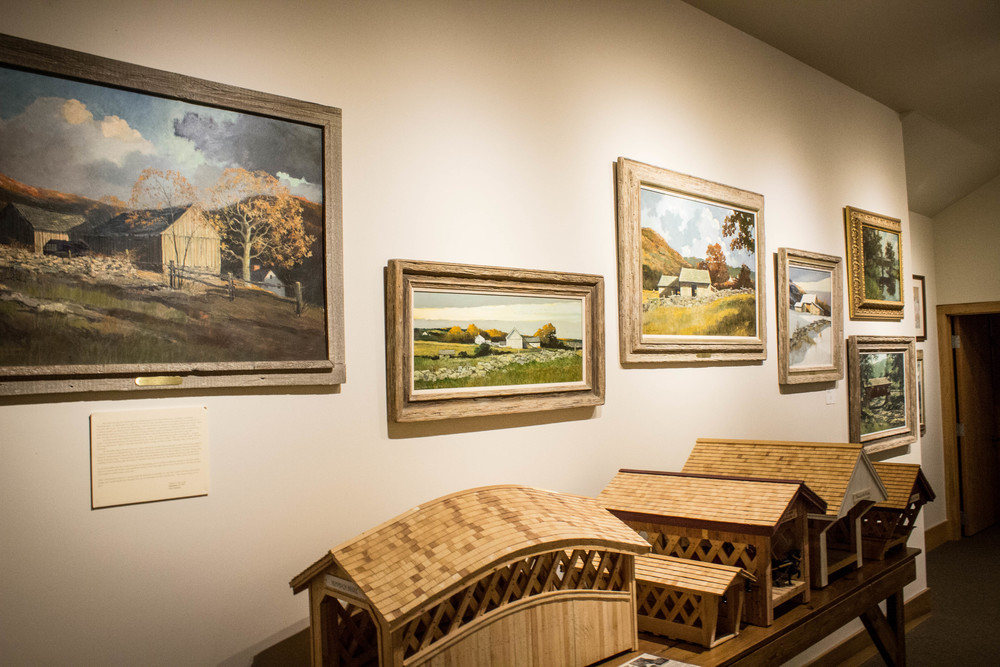 The centers nine Eric Sloane paintings hang in our Covered Bridge Museum.