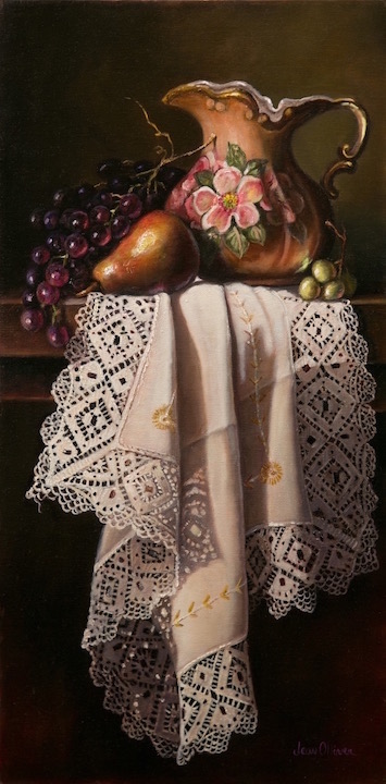 Olliver3,Pitcher,Fruit & Lace,12x24,oil.jpg